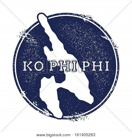 Ko Phi Phi Vector Map. Grunge Rubber Stamp With The Name And Map Of Island, Vector Illustration. Can