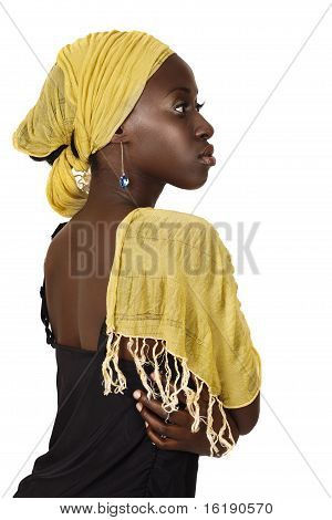 Serious South African Woman With Yellow Scarf.