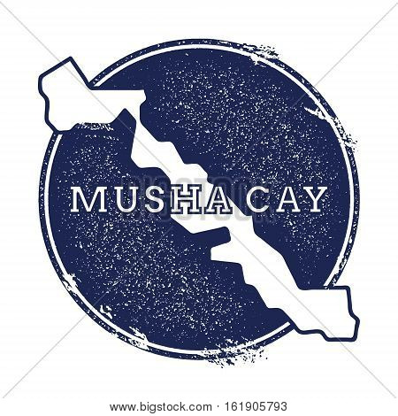 Musha Cay Vector Map. Grunge Rubber Stamp With The Name And Map Of Island, Vector Illustration. Can