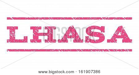 Lhasa watermark stamp. Text tag between horizontal parallel lines with grunge design style. Rubber seal stamp with dirty texture. Vector pink color ink imprint on a white background.
