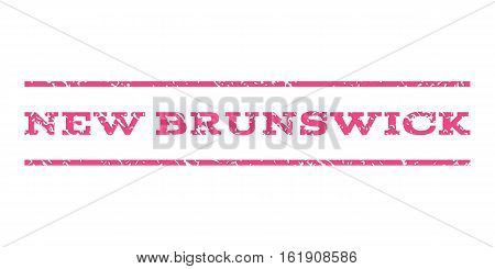 New Brunswick watermark stamp. Text caption between horizontal parallel lines with grunge design style. Rubber seal stamp with dust texture. Vector pink color ink imprint on a white background.