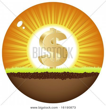 (raster image of vector) dollar view in sunshine