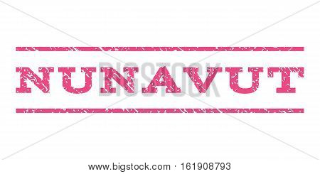 Nunavut watermark stamp. Text tag between horizontal parallel lines with grunge design style. Rubber seal stamp with dust texture. Vector pink color ink imprint on a white background.