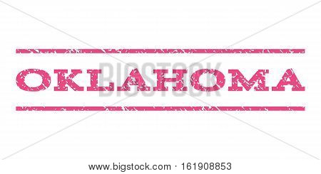 Oklahoma watermark stamp. Text caption between horizontal parallel lines with grunge design style. Rubber seal stamp with scratched texture. Vector pink color ink imprint on a white background.