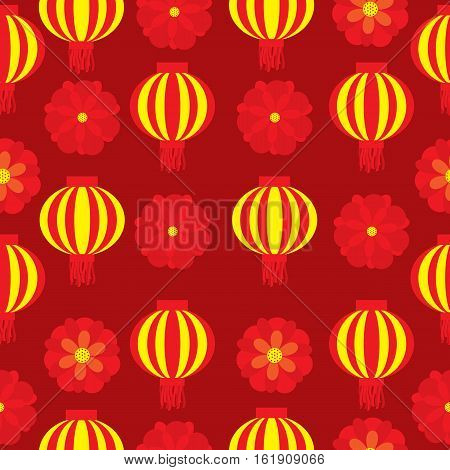 Seamless background of Chinese New Year Illustration with red flower and lampion lamp on red background suitable for New year wallpaper, scrap paper, and postcard