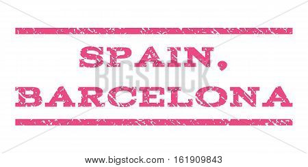 Spain, Barcelona watermark stamp. Text caption between horizontal parallel lines with grunge design style. Rubber seal stamp with unclean texture. Vector pink color ink imprint on a white background.