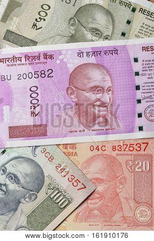 New Indian Currencies with Mahatma Gandhi Portrait