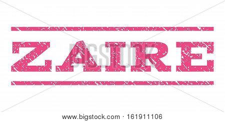Zaire watermark stamp. Text tag between horizontal parallel lines with grunge design style. Rubber seal stamp with dust texture. Vector pink color ink imprint on a white background.