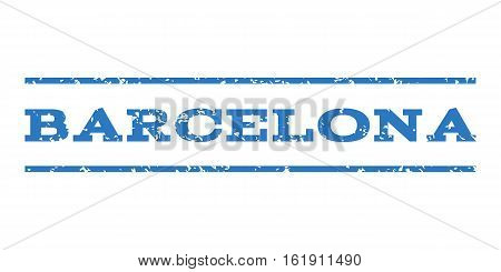 Barcelona watermark stamp. Text caption between horizontal parallel lines with grunge design style. Rubber seal stamp with dirty texture. Vector smooth blue color ink imprint on a white background.