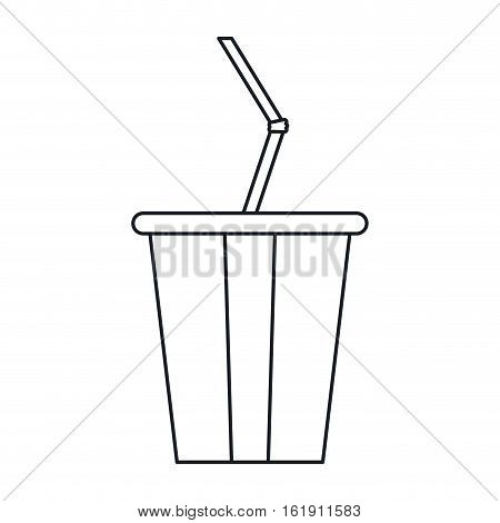 plastic cup soda with straw drink american football outline vector illustration eps 10