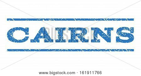 Cairns watermark stamp. Text caption between horizontal parallel lines with grunge design style. Rubber seal stamp with dirty texture. Vector smooth blue color ink imprint on a white background.