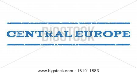 Central Europe watermark stamp. Text caption between horizontal parallel lines with grunge design style. Rubber seal stamp with dust texture.