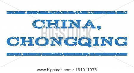 China, Chongqing watermark stamp. Text tag between horizontal parallel lines with grunge design style. Rubber seal stamp with scratched texture.