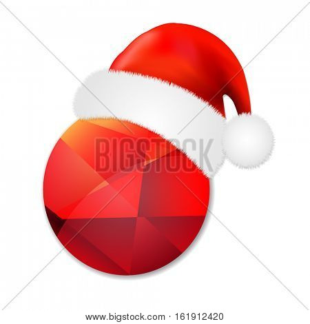 Sale Poster With Santa Claus Cap, With Gradient Mesh, Vector Illustration