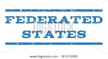 Federated States watermark stamp. Text caption between horizontal parallel lines with grunge design style. Rubber seal stamp with unclean texture.