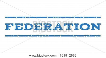 Federation watermark stamp. Text caption between horizontal parallel lines with grunge design style. Rubber seal stamp with dust texture. Vector smooth blue color ink imprint on a white background.