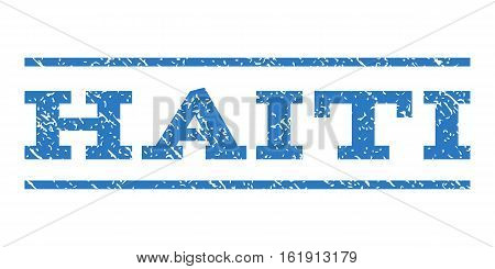 Haiti watermark stamp. Text tag between horizontal parallel lines with grunge design style. Rubber seal stamp with unclean texture. Vector smooth blue color ink imprint on a white background.