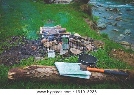 Campfire Near The River.