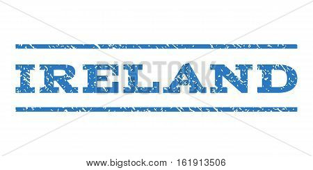 Ireland watermark stamp. Text tag between horizontal parallel lines with grunge design style. Rubber seal stamp with dirty texture. Vector smooth blue color ink imprint on a white background.