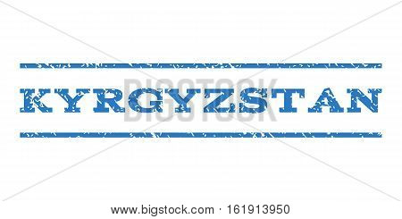 Kyrgyzstan watermark stamp. Text caption between horizontal parallel lines with grunge design style. Rubber seal stamp with dust texture. Vector smooth blue color ink imprint on a white background.