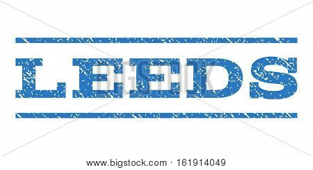 Leeds watermark stamp. Text caption between horizontal parallel lines with grunge design style. Rubber seal stamp with scratched texture. Vector smooth blue color ink imprint on a white background.
