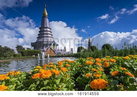 Landscape of two pagodas Noppamethanedol & Noppapol Phumsiri in an Inthanon mountain, Thailand.