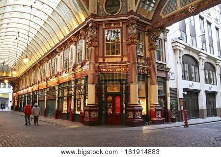 London - Jan 17 2009: unamed people walk through the Victorian arcade of the Leadenhall Market built in the 19th century and frequently featured in films and television.