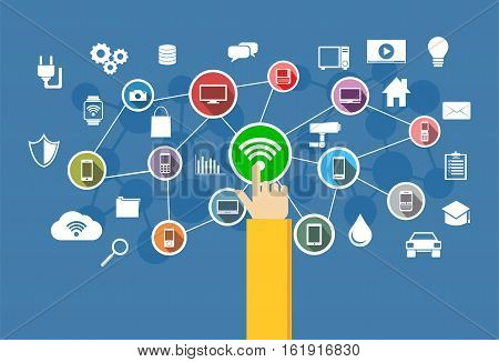 Wireless connection. Internet of Things. Information Technology concept.