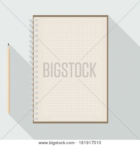 to left handed top view of flat vector pencil near blank checkered kraft paper notebook on background with long shadow effect