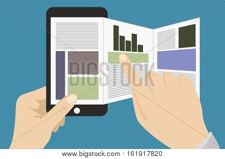 One hand holds a smartphone and the other touches the screen.Online reading news or web surfing using smartphone.Vector illustration