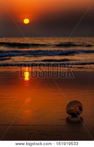 Sea Sunset. Beautiful gold sunset on the sea.