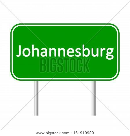 Johannesburg road sign isolated on white background.