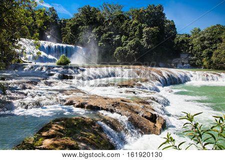 The bright azure cascades of Agua Azul in Chiapas, near San Cristobal, Mexico.