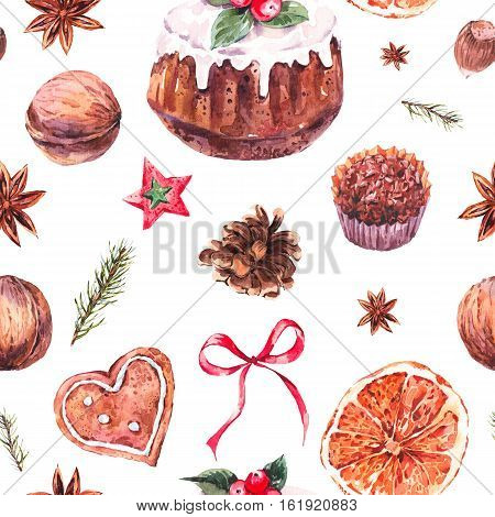 Watercolor Christmas seamless pattern with traditional pudding, gingerbread cookies, fir branches and orange slices, New Year hand painted decoration, Holiday design elements