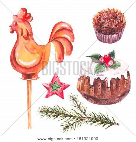 Watercolor sweet Christmas collection of chocolate, fir branches, rooster lollipop on stick, traditional pudding, New Year decoration, Holiday design elements, Isolated festive New Year set
