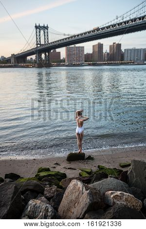 Young Woman Standing The Shore Of The East River