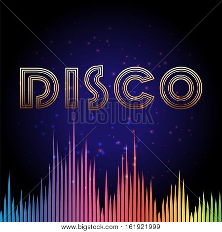 Disco background with rainbow colors soundwave and shining elements. Vector illustration