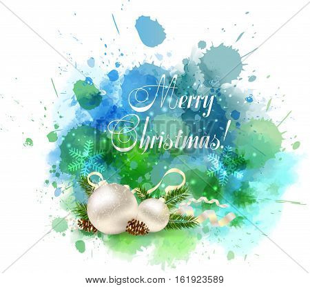 Christmas watercolor background with balls decoration in green and blue colors.