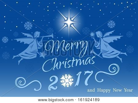 Merry Christmas and Happy New Year night with Christmas angels for greeting card. Vector illustration