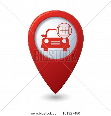 Car service. Car with shift icon. Vector illustration
