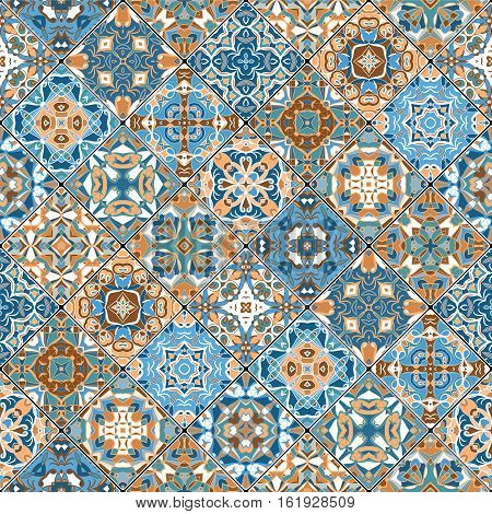 Orange and blue abstract patterns in the mosaic set. Square scraps in oriental style. Vector illustration. Ideal for printing on fabric or paper.