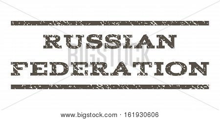 Russian Federation watermark stamp. Text tag between horizontal parallel lines with grunge design style. Rubber seal stamp with scratched texture. Vector grey color ink imprint on a white background.