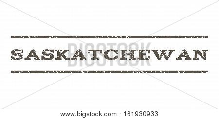 Saskatchewan watermark stamp. Text caption between horizontal parallel lines with grunge design style. Rubber seal stamp with dust texture. Vector grey color ink imprint on a white background.