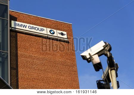 Prague, Czech Republic - December 16: Bmw Group Company Logo On Czech Headquarters Building On Decem