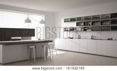 Scandinavian white kitchen minimalistic interior design, 3d illustration