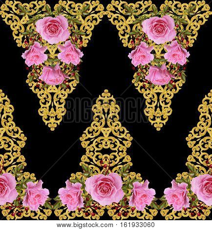 Pattern seamless floral border.Garland of flowers. Beautiful bright pink rose buds leaves. Golden curls shiny tracery weave. Vintage old background.