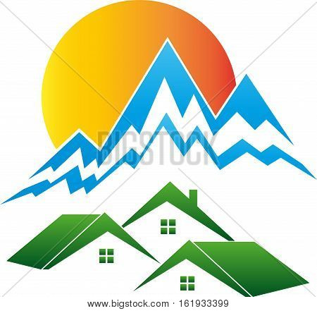 Mountains and sun, houses and peaks, travel agency and sports logo