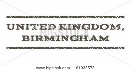United Kingdom, Birmingham watermark stamp. Text tag between horizontal parallel lines with grunge design style. Rubber seal stamp with unclean texture.