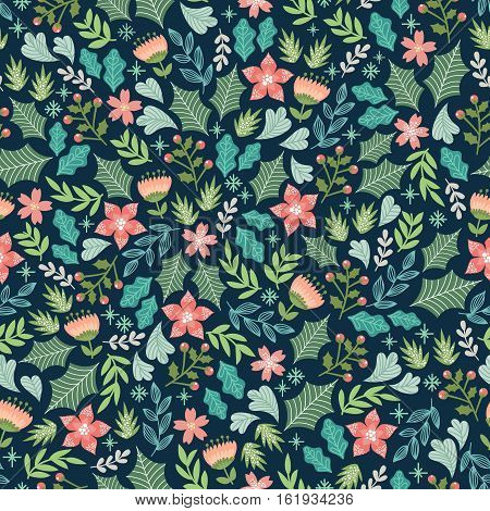 seamless pattern with flowers and signs of winter