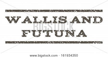 Wallis and Futuna watermark stamp. Text tag between horizontal parallel lines with grunge design style. Rubber seal stamp with dust texture. Vector grey color ink imprint on a white background.